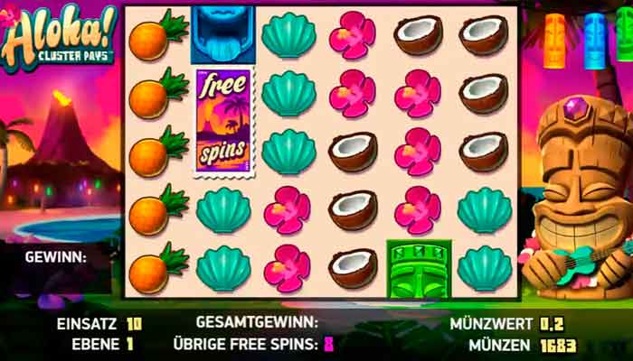 NetEnt Aloha! Cluster Pays  Freispiele Slots